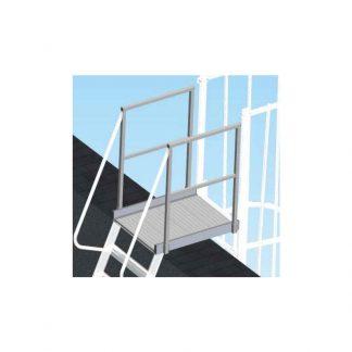 Pianetto di sbarco con parapetti per scale con gabbia
