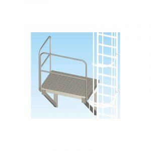 Piattaforma a mensola per scale con gabbia