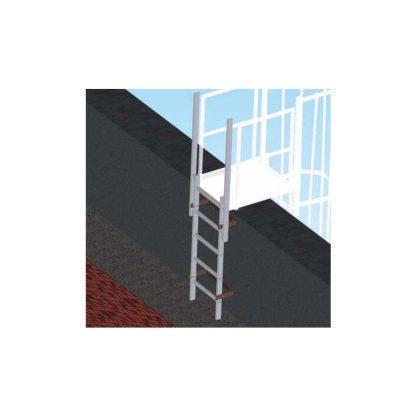 Scala di sbarco verticale per scale con gabbia