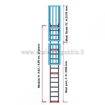 Scala con gabbia modulare componibile configurazione 10