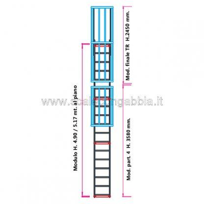 Scala con gabbia modulare componibile configurazione 11
