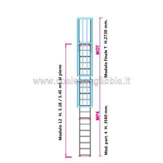 Scala con gabbia modulare componibile configurazione 12