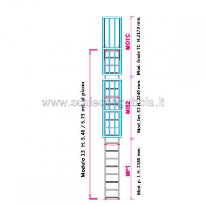 Scala con gabbia modulare componibile configurazione 13