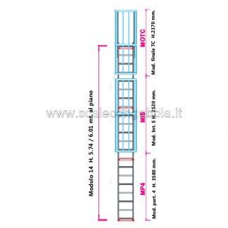 Scala con gabbia modulare componibile configurazione 14