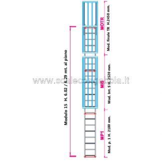 Scala con gabbia modulare componibile configurazione 15