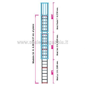 Scala con gabbia modulare componibile configurazione 16