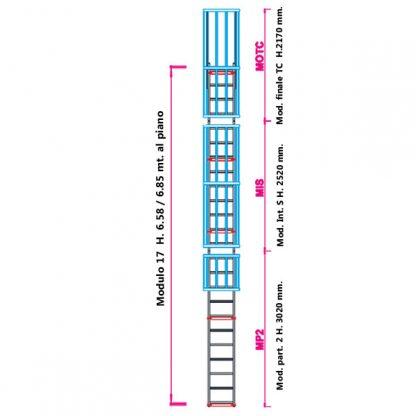 Scala con gabbia modulare componibile configurazione 17