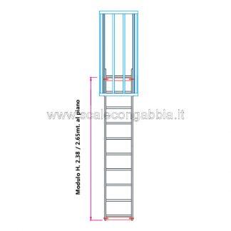 Scala con gabbia modulare componibile configurazione 2