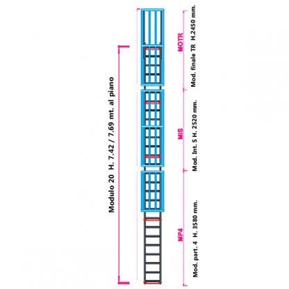 Scala con gabbia modulare componibile configurazione 20