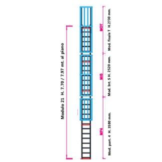 Scala con gabbia modulare componibile configurazione 21