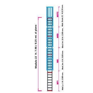 Scala con gabbia modulare componibile configurazione 22