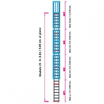 Scala con gabbia modulare componibile configurazione 25