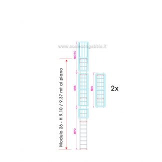 Scala con gabbia modulare componibile configurazione 26