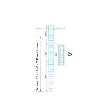 Scala con gabbia modulare componibile configurazione 28