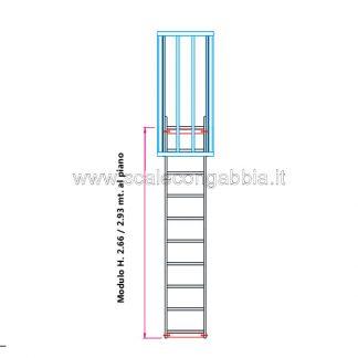 Scala con gabbia modulare componibile configurazione 3