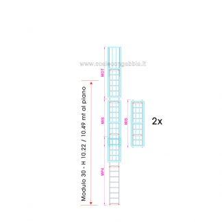 Scala con gabbia modulare componibile configurazione 30