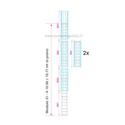 Scala con gabbia modulare componibile configurazione 31
