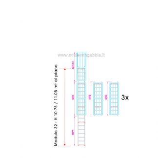 Scala con gabbia modulare componibile configurazione 32