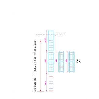 Scala con gabbia modulare componibile configurazione 33