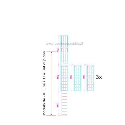 Scala con gabbia modulare componibile configurazione 34