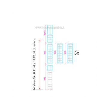 Scala con gabbia modulare componibile configurazione 35