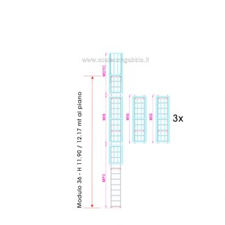 Scala con gabbia modulare componibile configurazione 36