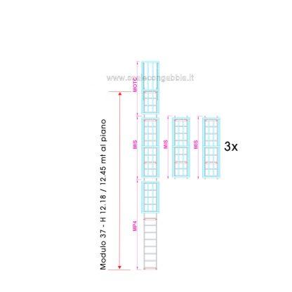 Scala con gabbia modulare componibile configurazione 37
