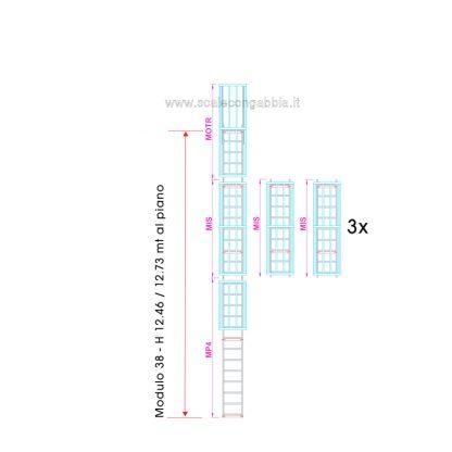 Scala con gabbia modulare componibile configurazione 38