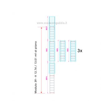 Scala con gabbia modulare componibile configurazione 39
