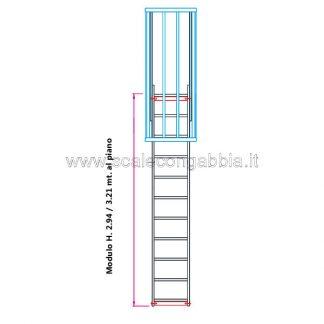 Scala con gabbia modulare componibile configurazione 4