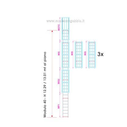 Scala con gabbia modulare componibile configurazione 40