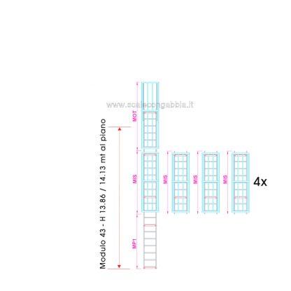 Scala con gabbia modulare componibile configurazione 43