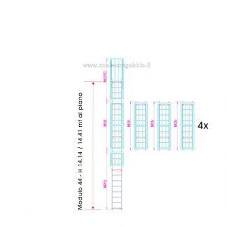 Scala con gabbia modulare componibile configurazione 44