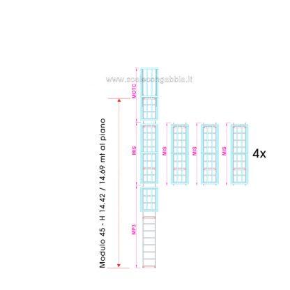 Scala con gabbia modulare componibile configurazione 45