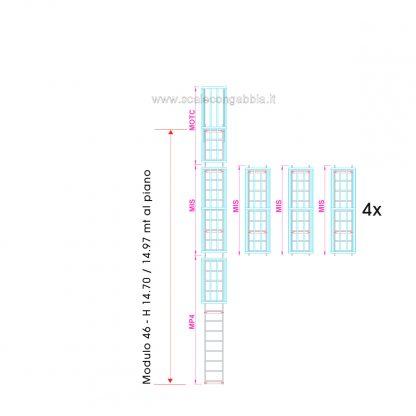 Scala con gabbia modulare componibile configurazione 46