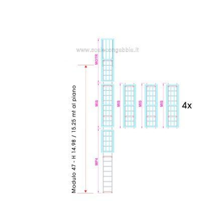 Scala con gabbia modulare componibile configurazione 47
