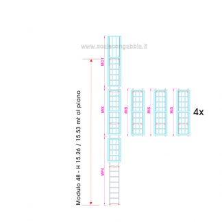 Scala con gabbia modulare componibile configurazione 48