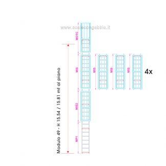 Scala con gabbia modulare componibile configurazione 49
