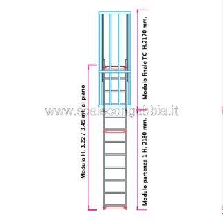 Scala con gabbia modulare componibile configurazione 5