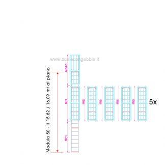 Scala con gabbia modulare componibile configurazione 50