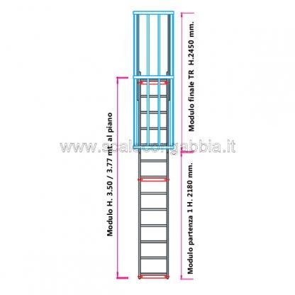 Scala con gabbia modulare componibile configurazione 6
