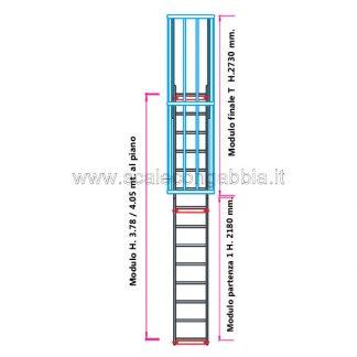 Scala con gabbia modulare componibile configurazione 7