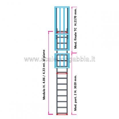 Scala con gabbia modulare componibile configurazione 8