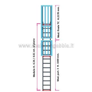 Scala con gabbia modulare componibile configurazione 9