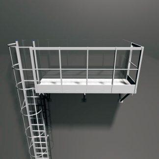 Terrazza autoportante per scala con gabbia