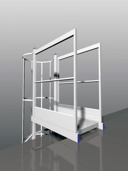 Piattaform di sbarco per scala con gabbia